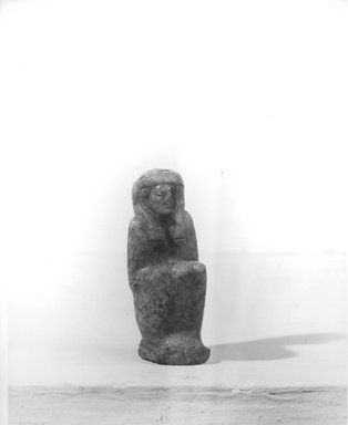 <em>Amulet of the Goddess Ma'at</em>, 332-31 B.C.E. Feldspar, 1 1/2 × 11/16 × 9/16 in. (3.8 × 1.8 × 1.5 cm). Brooklyn Museum, Charles Edwin Wilbour Fund, 08.480.108. Creative Commons-BY (Photo: Brooklyn Museum, CUR.08.480.108_NegA_print_bw.jpg)