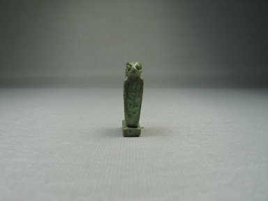 <em>Uraeus Erect as Amulet</em>, 664-31 B.C.E. Faience, 1 1/8 x 1/4 x 11/16 in. (2.8 x 0.7 x 1.8 cm). Brooklyn Museum, Charles Edwin Wilbour Fund, 08.480.122. Creative Commons-BY (Photo: Brooklyn Museum, CUR.08.480.122_view2.jpg)