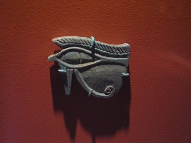 <em>Wadjet-Eye Amulet</em>, 664-332 B.C.E. Faience, 2 5/8 x 1 7/8 x 5/16 in. (6.7 x 4.8 x 0.8 cm). Brooklyn Museum, Charles Edwin Wilbour Fund, 08.480.129. Creative Commons-BY (Photo: Brooklyn Museum, CUR.08.480.129_tlf.jpg)