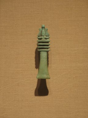 <em>Djed-Pillar with Atef-Crown</em>, ca. 664-305 B.C.E. Faience, 4 1/8 x 1 in. (10.5 x 2.5 cm). Brooklyn Museum, Charles Edwin Wilbour Fund, 08.480.130. Creative Commons-BY (Photo: Brooklyn Museum, CUR.08.480.130_wwg8.jpg)