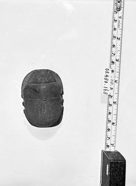 <em>Uninscribed Heart Scarab</em>, 664-525 B.C.E. Greywacke, 1 1/4 x 1 3/4 x 2 3/4 in. (3.2 x 4.4 x 7 cm). Brooklyn Museum, Charles Edwin Wilbour Fund, 08.480.168. Creative Commons-BY (Photo: Brooklyn Museum, CUR.08.480.168_negB_bw.jpg)