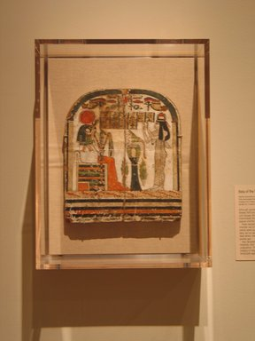 Egyptian. <em>Stela of the Woman Takhenemet</em>, ca. 775-653 B.C.E. Wood, gesso, pigment, 10 3/4 x 9 7/16 x 13/16 in. (27.3 x 23.9 x 2 cm). Brooklyn Museum, Charles Edwin Wilbour Fund, 08.480.201. Creative Commons-BY (Photo: Brooklyn Museum, CUR.08.480.201_wwg8.jpg)