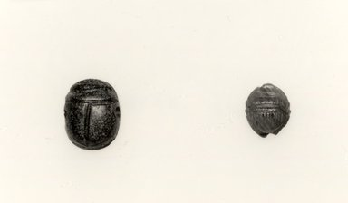 Etruscan. <em>Scarab Form Magic Gem</em>, 301-400 C.E. (or later). Stone, height: 1/4 in. (0.6 cm). Brooklyn Museum, Charles Edwin Wilbour Fund, 08.480.206. Creative Commons-BY (Photo: , CUR.08.480.206_08.480.207_grpA_bw.jpg)