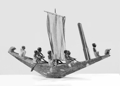 <em>Model of a Sailing Vessel</em>, ca. 2008-1759 B.C.E., or later. Wood, pigment, 7 1/16 × 33 1/16 in. (18 × 84 cm). Brooklyn Museum, Charles Edwin Wilbour Fund, 08.480.21. Creative Commons-BY (Photo: Brooklyn Museum, CUR.08.480.21_NegA_bw.jpg)