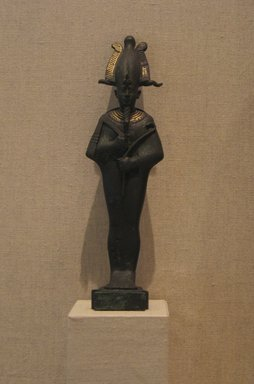 <em>Standing Mummiform Statuette of Osiris</em>, 664-525 B.C.E. or later. Bronze, gold leaf, 7 3/4 × 2 1/8 × 1 1/4 in. (19.7 × 5.4 × 3.2 cm). Brooklyn Museum, Charles Edwin Wilbour Fund, 08.480.27. Creative Commons-BY (Photo: Brooklyn Museum, CUR.08.480.27_wwgA-1.jpg)