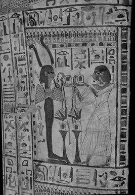 <em>Coffin and Mummy Board of Pasebakhaemipet</em>, ca. 1070-945 B.C.E. Wood, pigment, 12 5/8 x 21 5/8 x 76 3/8 in. (32 x 55 x 194 cm). Brooklyn Museum, Charles Edwin Wilbour Fund, 08.480.2a-c. Creative Commons-BY (Photo: Brooklyn Museum, CUR.08.480.2b_negH_bw.jpg)