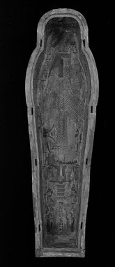 <em>Coffin and Mummy Board of Pasebakhaemipet</em>, ca. 1070-945 B.C.E. Wood, pigment, 12 5/8 x 21 5/8 x 76 3/8 in. (32 x 55 x 194 cm). Brooklyn Museum, Charles Edwin Wilbour Fund, 08.480.2a-c. Creative Commons-BY (Photo: Brooklyn Museum, CUR.08.480.2c_negK_bw.jpg)