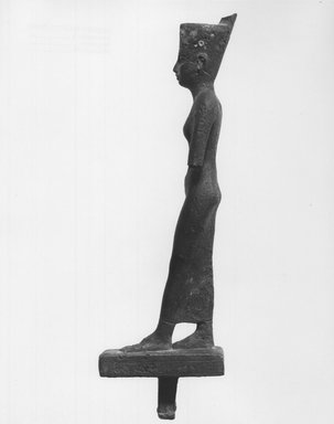 <em>Standing Statuette of Neith</em>, 664–332 B.C.E. Bronze, silver (?), 8 1/8 x 1 3/8 x 2 11/16 in. (20.7 x 3.5 x 6.9 cm). Brooklyn Museum, Charles Edwin Wilbour Fund, 08.480.30. Creative Commons-BY (Photo: Brooklyn Museum, CUR.08.480.30_print_NegD_bw.jpg)