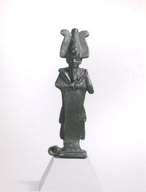 <em>Standing Mummiform Statuette of Osiris</em>, 332 B.C.E-395 C.E. Bronze, 4 13/16 x 1 7/16 in. (12.3 x 3.6 cm). Brooklyn Museum, Charles Edwin Wilbour Fund, 08.480.35. Creative Commons-BY (Photo: Brooklyn Museum, CUR.08.480.35_NegA_print_bw.jpg)