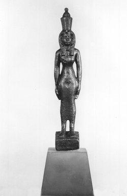 <em>Standing Statuette of Mut</em>, 664-332 B.C.E. Bronze, 7 5/16 x 1 1/2 x 1 7/16 in. (18.5 x 3.8 x 3.7 cm). Brooklyn Museum, Charles Edwin Wilbour Fund, 08.480.45. Creative Commons-BY (Photo: Brooklyn Museum, CUR.08.480.45_NegB_print_bw.jpg)
