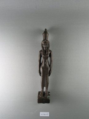 <em>Standing Statuette of Mut</em>, 664-332 B.C.E. Bronze, 7 5/16 x 1 1/2 x 1 7/16 in. (18.5 x 3.8 x 3.7 cm). Brooklyn Museum, Charles Edwin Wilbour Fund, 08.480.45. Creative Commons-BY (Photo: Brooklyn Museum, CUR.08.480.45_view1.jpg)
