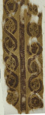 Coptic. <em>2 Fragments of Borders with Botanical Decoration</em>, 4th-5th century C.E. Flax, wool, 08.480.54a: 2 x 13 in. (5.1 x 33 cm). Brooklyn Museum, Charles Edwin Wilbour Fund, 08.480.54a-b. Creative Commons-BY (Photo: Brooklyn Museum (in collaboration with Index of Christian Art, Princeton University), CUR.08.480.54A_detail01_ICA.jpg)