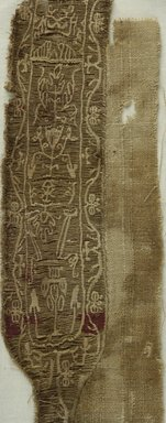 Coptic. <em>2 Clavi Fragments with Stylized Botanical Decoration</em>, 5th-6th century C.E. Flax, wool, 08.480.58a: 3 3/4 x 14 15/16 in. (9.5 x 38 cm). Brooklyn Museum, Charles Edwin Wilbour Fund, 08.480.58a-b. Creative Commons-BY (Photo: Brooklyn Museum (in collaboration with Index of Christian Art, Princeton University), CUR.08.480.58A_detail01_ICA.jpg)