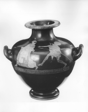 Greek. <em>Red-Figure Hydria</em>, 440-430 B.C.E. Clay, slip, 10 1/16 x 4 7/16 in. (25.5 x 11.3 cm). Brooklyn Museum, Gift of Robert B. Woodward, 09.1. Creative Commons-BY (Photo: Brooklyn Museum, CUR.09.1_NegA_print_bw.jpg)