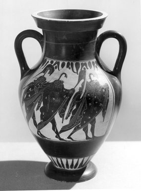 Greek-Attic. <em>Amphora</em>, late 6th century B.C.E. Clay, pigment, 9 5/8 x 4 7/16 in. (24.5 x 11.2 cm). Brooklyn Museum, Gift of Robert B. Woodward, 09.35. Creative Commons-BY (Photo: Brooklyn Museum, CUR.09.35_NegA_print_bw.jpg)