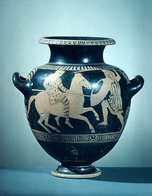 Kassel Painter , style of. <em>Red-Figure Stamnos</em>, 440-430 B.C.E. Clay, pigment, 11 13/16 x Diam. 11 1/4 in. (30 x 28.5 cm). Brooklyn Museum, Gift of Robert B. Woodward, 09.3. Creative Commons-BY (Photo: Brooklyn Museum, CUR.09.3_view1.jpg)