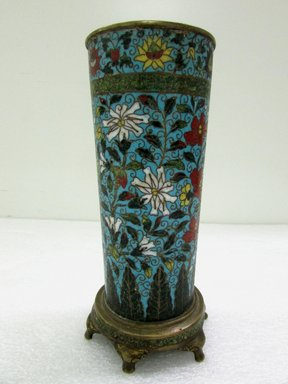 <em>Tall Slender Cylindrical Vase</em>, 1662-1722. Cloisonné enamel on copper alloy, 9 3/16 x 4 1/8 in. (23.3 x 10.5 cm). Brooklyn Museum, Gift of Samuel P. Avery, 09.457. Creative Commons-BY (Photo: Brooklyn Museum, CUR.09.457.jpg)