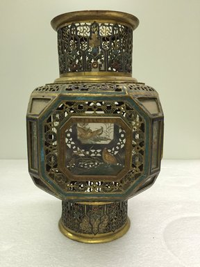 <em>Medium Sized Lantern</em>, 18th-19th century. Cloisonné enamel on copper alloy, 12 x 7 1/16 in. (30.5 x 18 cm). Brooklyn Museum, Gift of Samuel P. Avery, 09.477. Creative Commons-BY (Photo: Brooklyn Museum, CUR.09.477_overall.jpg)