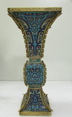 <em>Tall Slender Vase and Smaller Container</em>, late 18th century. Cloisonné enamel on copper alloy, At top: 14 x 6 5/16 in. (35.5 x 16 cm). Brooklyn Museum, Gift of Samuel P. Avery, 09.481a-b. Creative Commons-BY (Photo: Brooklyn Museum, CUR.09.481a.jpg)