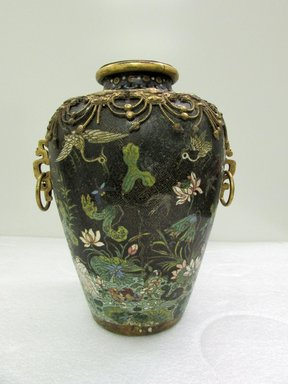 <em>Large Vase and Cover</em>, 19th century. Cloisonné enamel on copper alloy, 13 9/16 x 10 5/8 in. (34.5 x 27 cm). Brooklyn Museum, Gift of Samuel P. Avery, 09.506a-b. Creative Commons-BY (Photo: Brooklyn Museum, CUR.09.506a-b_overall.jpg)