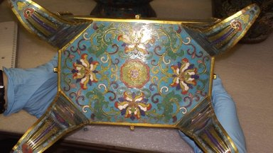<em>Large Quadrilateral Incense Burner and Cover</em>, 1736-1795. Cloisonné enamel on copper alloy, 13 1/4 x 6 1/2 x 9 1/4 in. (33.6 x 16.5 x 23.5 cm). Brooklyn Museum, Gift of Samuel P. Avery, 09.536a-b. Creative Commons-BY (Photo: Brooklyn Museum, CUR.09.536a_base.jpg)