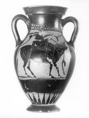 Greek. <em>Black-Figure Amphora</em>, ca. 500 B.C.E. Clay, slip, 4 1/2 x 9 5/16 in. (11.5 x 23.6 cm). Brooklyn Museum, Gift of Robert B. Woodward, 09.5. Creative Commons-BY (Photo: Brooklyn Museum, CUR.09.5_NegA_print_bw.jpg)