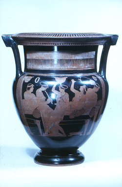Painter of London E489. <em>Red-Figure Column Krater</em>, 5th century B.C.E., or earlier. Clay, slip, 19 9/16 × greatest diam. 17 5/16 in. (49.7 × 44 cm). Brooklyn Museum, Gift of Robert  B. Woodward, 09.6. Creative Commons-BY (Photo: Brooklyn Museum, CUR.09.6_view1.jpg)