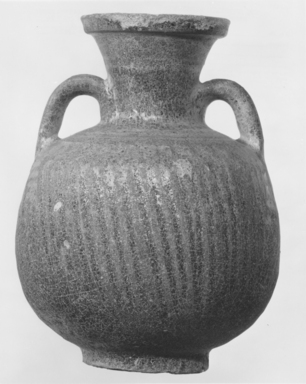<em>Jar</em>, 248 B.C.E.-220 C.E. Clay, glaze, 5 7/8 × Diam. 4 5/16 in. (15 × 11 cm). Brooklyn Museum, Gift of Robert B. Woodward, 09.794. Creative Commons-BY (Photo: Brooklyn Museum, CUR.09.794_NegA_print_bw.jpg)