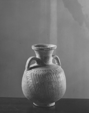 <em>Jar</em>, 248 B.C-220 C.E. Clay, glaze, 5 7/8 x 4 5/16 in. (15 x 11 cm). Brooklyn Museum, Gift of Robert B. Woodward, 09.794. Creative Commons-BY (Photo: Brooklyn Museum, CUR.09.794_NegE_print_bw.jpg)