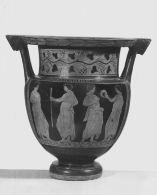 Italiote. <em>Red-Figure Column Krater</em>, 330-320 B.C.E. Clay, pigment, 16 1/8 x Greatest diam. 16 1/4 in. (41 x 41.3 cm). Brooklyn Museum, Gift of Robert B. Woodward, 09.7. Creative Commons-BY (Photo: Brooklyn Museum, CUR.09.7_NegB_print_bw.jpg)