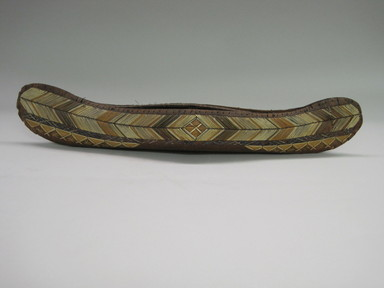 Penobscot. <em>Model of Canoe</em>, early 19th century. Birch bark, porcupine quill, 21 1/4 x 3 3/8 x 2 9/16 in.  (54.0 x 8.5 x 6.5 cm). Brooklyn Museum, Brooklyn Museum Collection, 09.800. Creative Commons-BY (Photo: , CUR.09.800_view01.jpg)