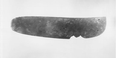 <em>Large Knife</em>, ca. 3300 B.C.E.-3100 B.C.E. Flint, 2 7/16 x 11 5/16 in. (6.2 x 28.8 cm). Brooklyn Museum, Charles Edwin Wilbour Fund, 09.889.119. Creative Commons-BY (Photo: Brooklyn Museum, CUR.09.889.119_NegB_print_bw.jpg)