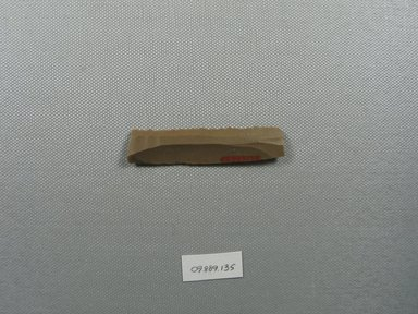 <em>Saw</em>, ca. 3500-3100 B.C.E. Flint, 9/16 x 3/16 x 2 11/16 in. (1.4 x 0.5 x 6.9 cm). Brooklyn Museum, Charles Edwin Wilbour Fund, 09.889.135. Creative Commons-BY (Photo: Brooklyn Museum, CUR.09.889.135_overall.jpg)