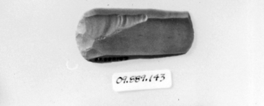 <em>Double Round Ended Scraper</em>, ca. 3300-2675 B.C.E. Flint, 1 3/16 x 2 9/16 in. (3 x 6.5 cm). Brooklyn Museum, Charles Edwin Wilbour Fund, 09.889.143. Creative Commons-BY (Photo: , CUR.09.889.143_NegID_07.447.828GRPA_print_cropped_bw.jpg)
