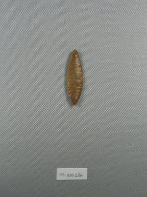 <em>Arrowhead</em>, ca. 4400-3100 B.C.E. Chert, 9/16 x 3/16 x 1 9/16 in. (1.4 x 0.4 x 4 cm). Brooklyn Museum, Charles Edwin Wilbour Fund, 09.889.226. Creative Commons-BY (Photo: Brooklyn Museum, CUR.09.889.226_overall.jpg)