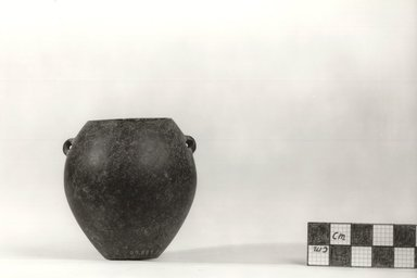 <em>Ovoid Vase with Two Small Perforated Handles</em>, ca. 3500-3300 B.C.E. Basalt, 2 9/16 x Diam. 2 3/8 in. (6.5 x 6.1 cm). Brooklyn Museum, Charles Edwin Wilbour Fund, 09.889.24. Creative Commons-BY (Photo: Brooklyn Museum, CUR.09.889.24_NegB_print_bw.jpg)