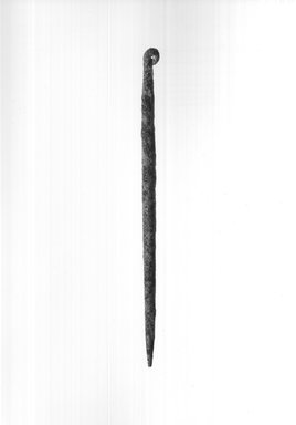 <em>Needle</em>, ca. 4400-3100 B.C.E. Bronze, 1/16 x 1/16 x 2 1/2 in. (0.2 x 0.2 x 6.3 cm). Brooklyn Museum, Charles Edwin Wilbour Fund, 09.889.294a. Creative Commons-BY (Photo: Brooklyn Museum, CUR.09.889.294a_print_negA_bw.jpg)