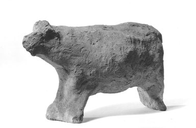 <em>Figurine of a Cow</em>, ca. 4400-2170 B.C.E. Clay, 3 15/16 x 2 5/16 x 6 11/16 in. (10 x 5.8 x 17 cm). Brooklyn Museum, Charles Edwin Wilbour Fund, 09.889.323. Creative Commons-BY (Photo: Brooklyn Museum, CUR.09.889.323_NegB_print_bw.jpg)