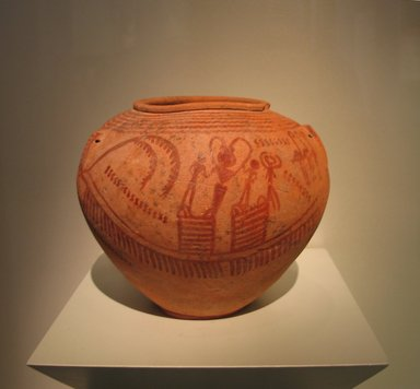 <em>Jar with Boat Designs</em>, ca. 3450-3350 B.C.E. Clay, pigment, 6 7/8 x greatest diam. 8 1/4 in. (17.5 x 20.9 cm). Brooklyn Museum, Charles Edwin Wilbour Fund, 09.889.400. Creative Commons-BY (Photo: Brooklyn Museum, CUR.09.889.400_erg456.jpg)