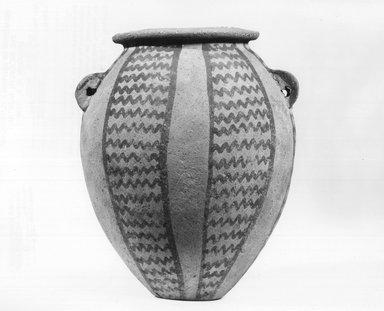 <em>Jar with Zigzag Panels</em>, ca. 3500-3300 B.C.E. Clay, pigment, 6 3/8 x greatest diam. 5 5/16 in. (16.2 x 13.5 cm). Brooklyn Museum, Charles Edwin Wilbour Fund, 09.889.402. Creative Commons-BY (Photo: Brooklyn Museum, CUR.09.889.402_NegA_print_bw.jpg)