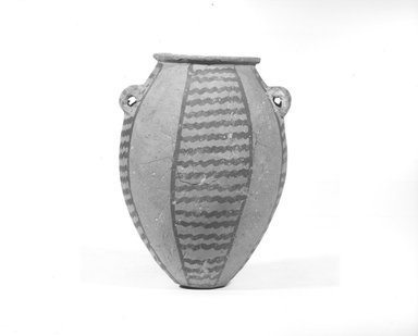<em>Vase</em>, ca. 3500-3300 B.C.E. Terracotta, pigment, 5 1/8 x 3 3/4 in. (13 x 9.5 cm). Brooklyn Museum, Charles Edwin Wilbour Fund, 09.889.403. Creative Commons-BY (Photo: Brooklyn Museum, CUR.09.889.403_negA_bw.jpg)
