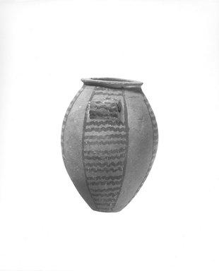 <em>Vase</em>, ca. 3500-3300 B.C.E. Terracotta, pigment, 5 1/8 x 3 3/4 in. (13 x 9.5 cm). Brooklyn Museum, Charles Edwin Wilbour Fund, 09.889.403. Creative Commons-BY (Photo: Brooklyn Museum, CUR.09.889.403_negD_bw.jpg)
