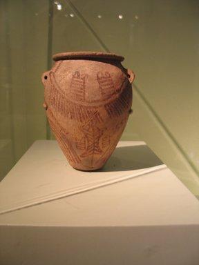 <em>Jar with Handles</em>, ca. 3500-3300 B.C.E. Terracotta, pigment, 5 5/8 x Diam. 4 1/2 in. (14.3 x 11.5 cm). Brooklyn Museum, Charles Edwin Wilbour Fund, 09.889.404. Creative Commons-BY (Photo: Brooklyn Museum, CUR.09.889.404_erg456_2015.jpg)