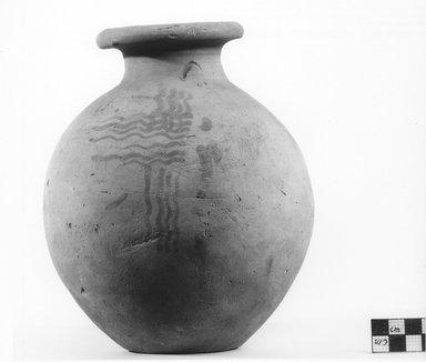 <em>Ovoid Urn</em>, ca. 3100-2675 B.C.E. Terracotta, pigment, 7 7/8 × Greatest Diam. 6 1/2 in. (20 × 16.5 cm). Brooklyn Museum, Charles Edwin Wilbour Fund, 09.889.420. Creative Commons-BY (Photo: Brooklyn Museum, CUR.09.889.420_NegA_print_bw.jpg)