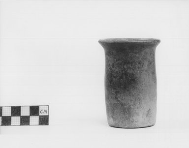 <em>Cylindrical Vase</em>, ca. 3100–2675 B.C.E. Terracotta, 3 7/16 x Diam. 2 1/2 in. (8.7 x 6.3 cm). Brooklyn Museum, Charles Edwin Wilbour Fund, 09.889.457. Creative Commons-BY (Photo: Brooklyn Museum, CUR.09.889.457_NegA_print_bw.jpg)