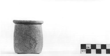 <em>Cylindrical Vase</em>, ca. 4400-3100 B.C.E. Terracotta, Height: 2 1/2 in. (6.4 cm). Brooklyn Museum, Charles Edwin Wilbour Fund, 09.889.479. Creative Commons-BY (Photo: Brooklyn Museum, CUR.09.889.479_NegA_print_bw.jpg)