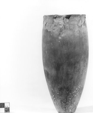 <em>Ovoid Shaped Vase</em>, ca. 3800-3300 B.C.E. Clay, 8 3/16 x Diam. of mouth 3 3/8 in. (20.8 x 8.5 cm). Brooklyn Museum, Charles Edwin Wilbour Fund, 09.889.556. Creative Commons-BY (Photo: Brooklyn Museum, CUR.09.889.556_NegA_print_bw.jpg)