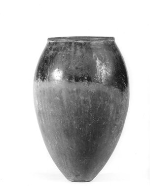 <em>Ovoid Shaped Vase</em>, ca. 3800-3300 B.C.E. Clay, 9 7/8 x greatest diam. 6 5/8 in. (25.1 x 16.8 cm). Brooklyn Museum, Charles Edwin Wilbour Fund, 09.889.561. Creative Commons-BY (Photo: Brooklyn Museum, CUR.09.889.561_NegA_print_bw.jpg)