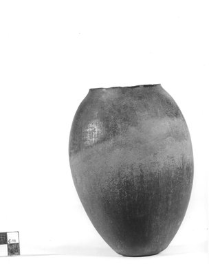 <em>Ovoid Shaped Vase</em>, ca. 3800-3300 B.C.E. Clay, 5 9/16 x Diam. 4 in. (14.2 x 10.2 cm). Brooklyn Museum, Charles Edwin Wilbour Fund, 09.889.569. Creative Commons-BY (Photo: Brooklyn Museum, CUR.09.889.569_NegA_print_bw.jpg)