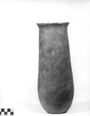 <em>Cylindrical Vase</em>. Clay, slip, Height: 11 5/16 in. (28.7 cm). Brooklyn Museum, Charles Edwin Wilbour Fund, 09.889.575. Creative Commons-BY (Photo: Brooklyn Museum, CUR.09.889.575_NegA_print_bw.jpg)
